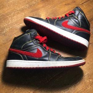 Retro Jordan 1 Black Leather with Red
